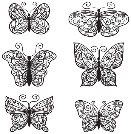 Six ornate butterflies for your design isolated on white background. Vector