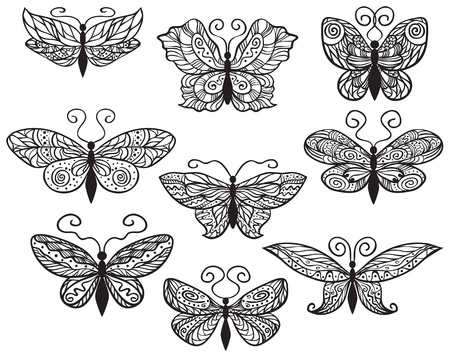 Nine ornate butterflies for your design isolated on white background. Illustration