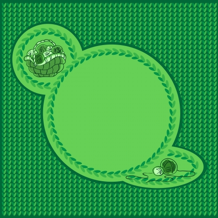 Knitted green background with space for text.