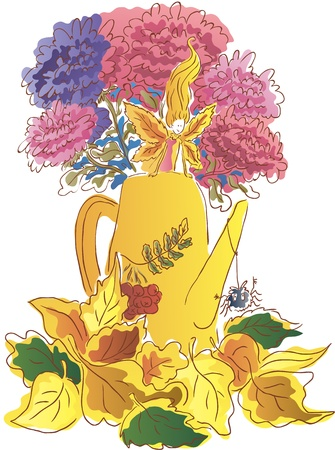 Watering can with flowers  Lying autumn leaves  Little Autumn Fairy Stock Vector - 21706383