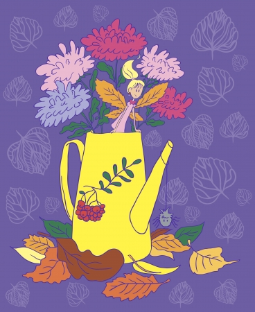 Watering can with flowers  Lying autumn leaves  Little Autumn Fairy  Vector