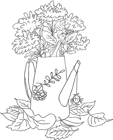 Watering can with flowers  Lying autumn leaves  Little Autumn Fairy