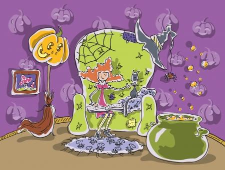 Little witch sits in a chair and reading a book  Beside her cauldron of potion, broom, pumpkin  Illustration