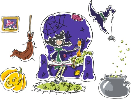 Set of halloween objects  witch, cat, pumpkin, broom, cauldron  Isolated on white