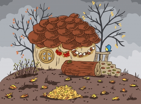 Autumn landscape  The house in the shape of an acorn  Fallen leaves  Illustration