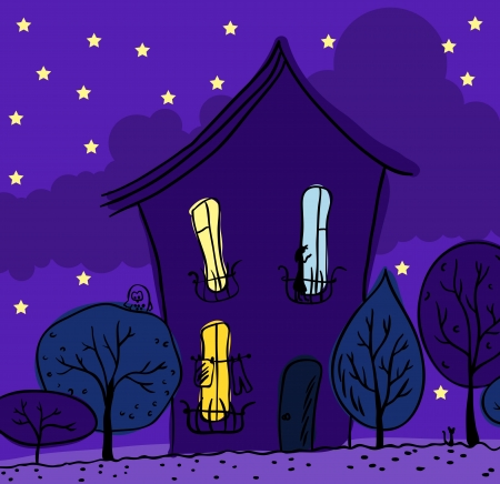 Night view  House, trees, bright window  Illustration