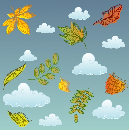 Autumn leaves with the sky background