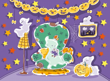 Halloween ghost  On the wall of stars  Decorations of pumpkins  Illustration