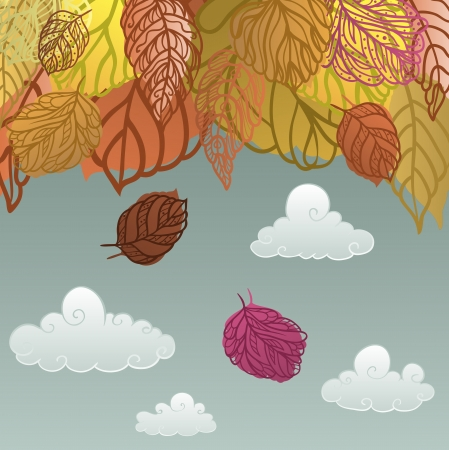 Autumn leaves with the gray sky background