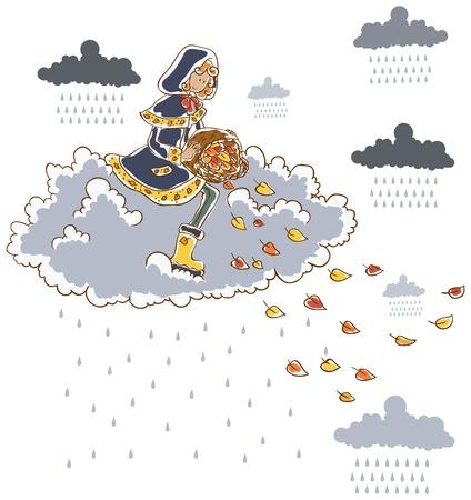 Girl on rain cloud strews autumn leaves