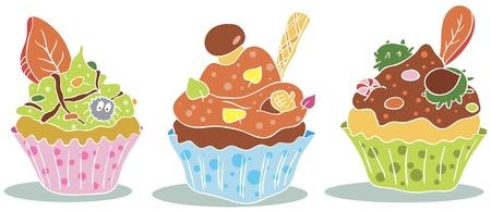 Three autumn decorated cupcakes