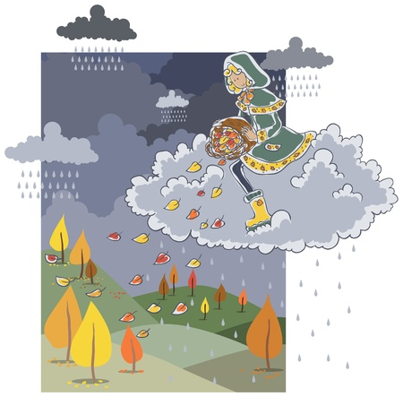 Girl on rain cloud strews autumn leaves