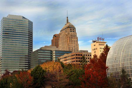 Landscape of Oklahoma City Skyline in the fall Stock Photo