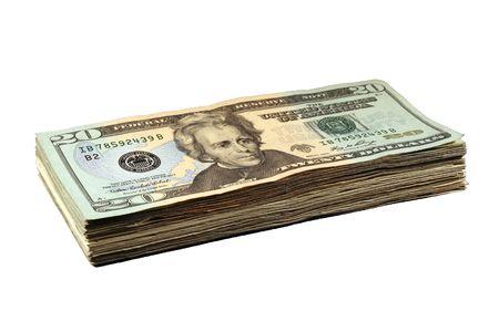 Ein großer Stapel von zwanzig Dollarnoten auf weißem Hintergrund  Standard-Bild - 2189713