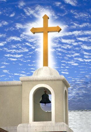 A glowing orthodox cross with a very beautiful sky in the background.