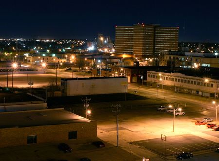 an inmate: A timed exposure at night of the Oklahoma County Jail