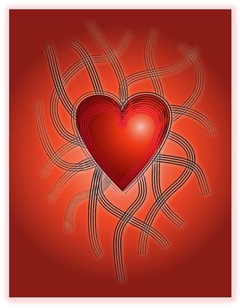 Valentine Tribal Herz auf rotem Hintergrund Farbverlauf  Standard-Bild - 2534336