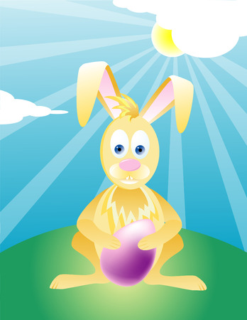 Yellow Easter Bunny Holding Easter Egg Illustration  Vector