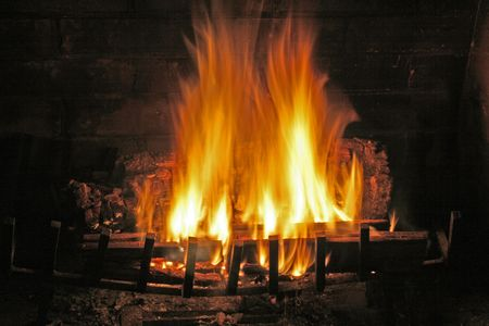 Fire in a winter fireplace