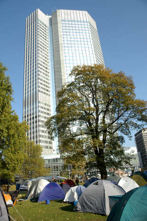camp of occupy frankfurt before the ecb