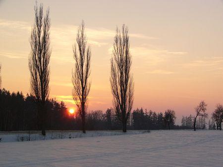 morava: Sunset at winter on Czech  Morava country, Europe. Stock Photo