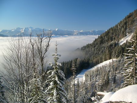 inversion: Inversion in winter mountains Stock Photo