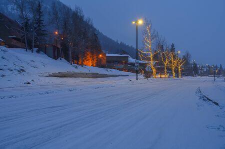 Entrance Road to Banff at Night