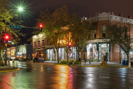 Rapid City, South Daktoa, USA, October 07, 2020 – night street view of the downtown district Editorial