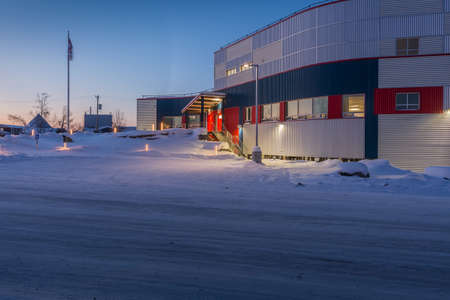 Inuvik, Northwest Territories, Canada, March 29, 2017 - The RCMP (Royal Canadian Mounted Police) offices in the Arctic community