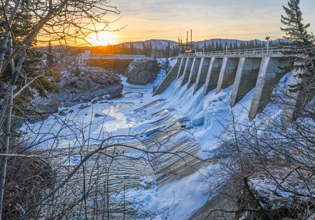 Seebe Dam near Exshaw, Alberta at Dawn