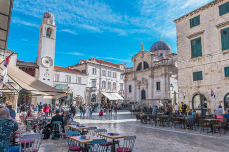 Dubrovnik, Croatia, October 28, 2017 – Street scene in the Old Town with people and buildings