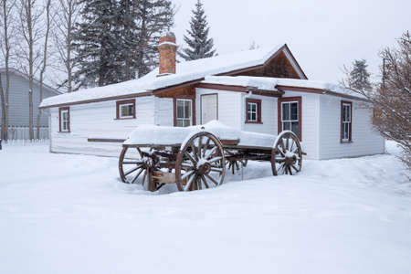 Canmore, Alberta, Canada, January 08, 2020 - Exterior view of the historic RCMP barracks