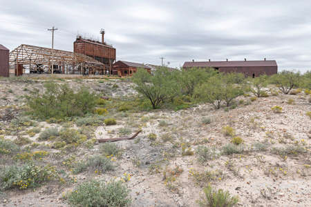 Old abandoned petroleum pumping station near Eunice, New Mexico, USA