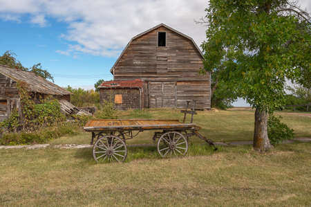 Old barn and wagon in rural Alberta, Canada
