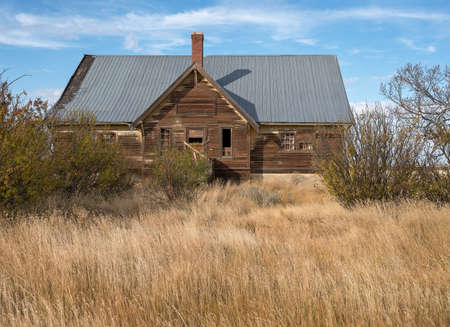 Abandoned school at the ghost town of Nemiskam, Alberta, Canada