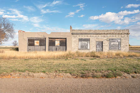 Abandoned business in the ghost town of Nemiskam, Alberta, Canada