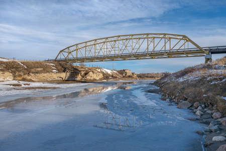 Weir Bridge over the Milk River in Alberta, Canada