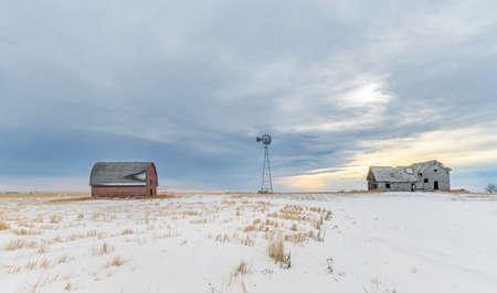 Abandoned homestead on the prairie near Blackie, Alberta, Canada