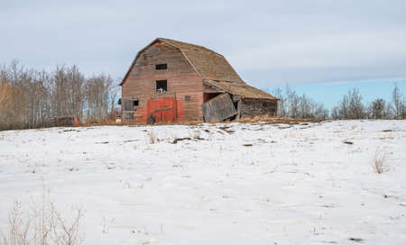 Old abandoned barn on the Canadian Prairies near Delburne, Alberta