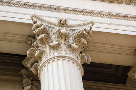 justices: Detail of stone greek columns at the National Archives