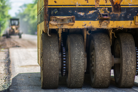 Static compaction using a pneumatic tyred roller Stock Photo