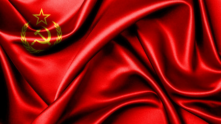 cold war: 3D rendering   flag of the Soviet Union was the official national flag of the Soviet state from 1923 to 1991. The flags design and symbolism are derived from the Russian Revolution Stock Photo