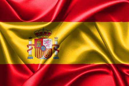3D rendering flag of Spain as it is defined in the Spanish Constitution of 1979, consists of three horizontal stripes: red, yellow and red