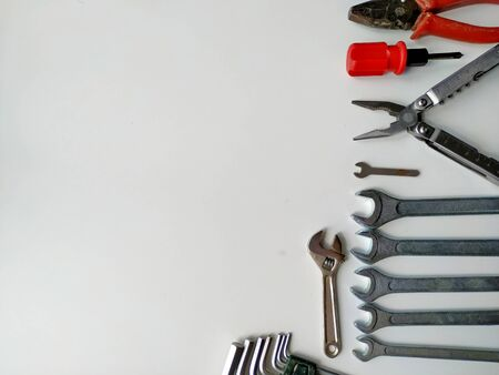layout of tools for repair isolated on a white background. Do it yourself minor repairs