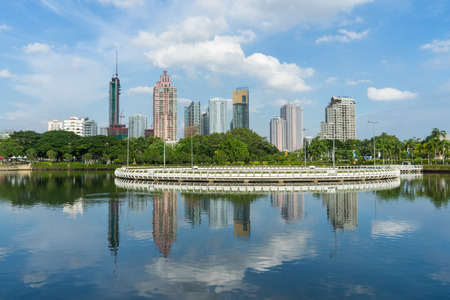 This is a citiscape photo that was took at Benjakiiti park located in Bangkok, Thailand