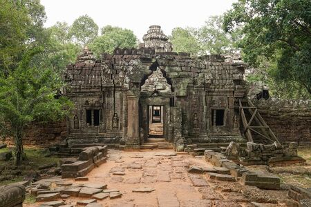 This is Ta som temple in Siem Reap, Cambodia. Historical temple which was constructed almost 1000 years ago. We can see the tree grow up on the temple.