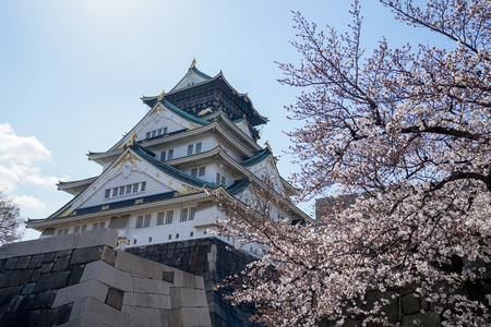 Osaka Castle with cherry blossom flower in this picture was taken in Spring season of 2019.