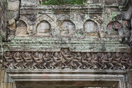This is Apsara sculpture in Preah Khan is a temple at Angkor, Cambodia, built in the 12th century.