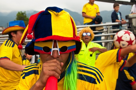 fanatics: People getting ready for an international soccer game in Bogot�, Colombia