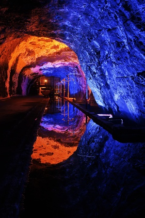 The colors of the underground salt church in Nemocon, Colombia  Stock Photo